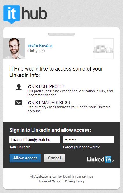 LinkedIn integráció